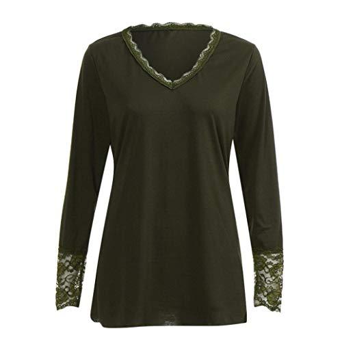 d'automne Longues Sweatshirt Top Fantaisiez de en Vrac Femme de de Vert Manches V pour Chemisier Chemises Printemps Solides Col Blouse en Couleur xRtwarR