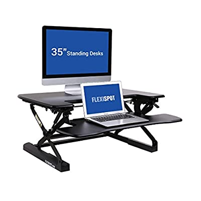 """FlexiSpot M8MB Standing Desk - 35"""" Height Adjustable Tabletop Workstation Sit to Stand Gas Spring Riser Converter with Spacious and Quick Release Keyboard Tray"""