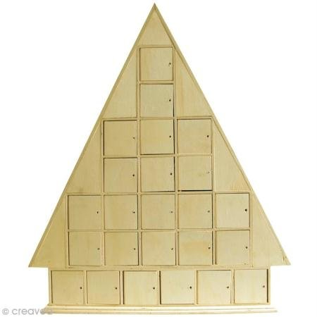 Artemio 43.5 x 51 x 7 cm Wooden Christmas Tree Advent Calendar to Decorate, Beige 14001418