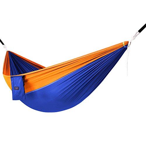 Yes4All Single Lightweight Camping Hammock with Strap & Carry Bag - Nylon Parachute Hammock/Lightweight Portable Hammock for Camping, Hiking (Blue/Orange) (Gimb Ring)