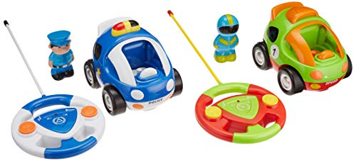 Toydaloo Cartoon RC Remote Control Police Car AND Race Car Combo Pack! Fun & Educational Radio Control Toy for Kids and Toddlers, 2 Car Value Pack! By