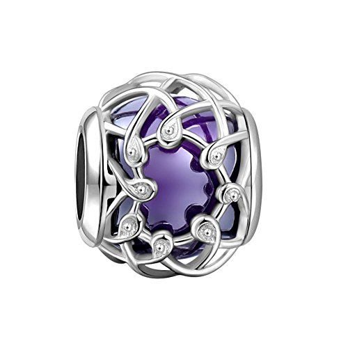 SOUFEEL Purple Net Heart Crystal Charms 925 Sterling Silver Fit European Bracelets Necklaces Best Giftss