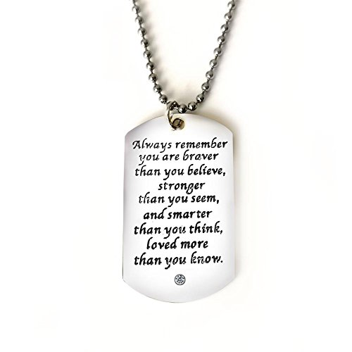 Always Remember You Are Braver,Dog Tag Military Air Force Navy Coast Guard Necklace Ball Chain Gift for Best Son Birthday Graduation Stainless Steel,Gift From Father or Mother(Style1 CZ)