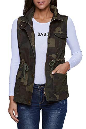 SENSERISE Womens Lightweight Sleeveless Military Anorak Drawstring Jacket Vest(Camo,L)