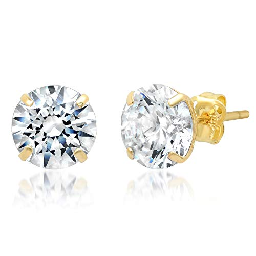 14k Solid Yellow Gold ROUND Stud Earrings with Genuine Swarovski Zirconia | 3.0 CT.TW. | With Gift Box ()