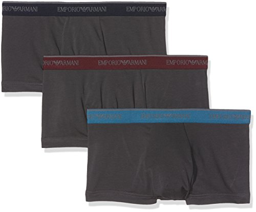 Emporio Armani Men's Stretch Cotton 3 Pack Trunk, Smoke/Smoke/Smoke, - Armani Men Uk