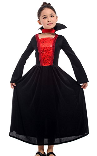 Brcus Kids Girls Vampire Halloween Costume Gothic Cosplay Role Play Fancy Dress X-Large(for Height 130-140cm)]()