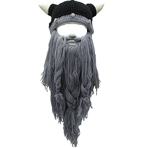 Flyou Adult Viking Beard Beanie Horn Hat Winter Warm Mask Hat Knitted Wool Funny Skull Cap - And With Beards Hats Men