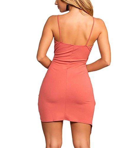 Abito con Irregolare Sexy partito Bodycon Dress fasciatura Vestito Mini Estate Backless Strap Spaghetti da V scollo Primavera Rosa a PqtvxwCPr