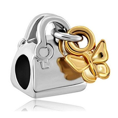 Tone Butterfly Charm - Charm Central Premium Two Tone Butterfly Purse Charm for Charm Bracelets - Fits Pandora Bracelets