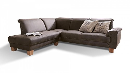 Ecksofa Stoff Braun Holzfuesse Design Kernbuche Sofa Eck Couch