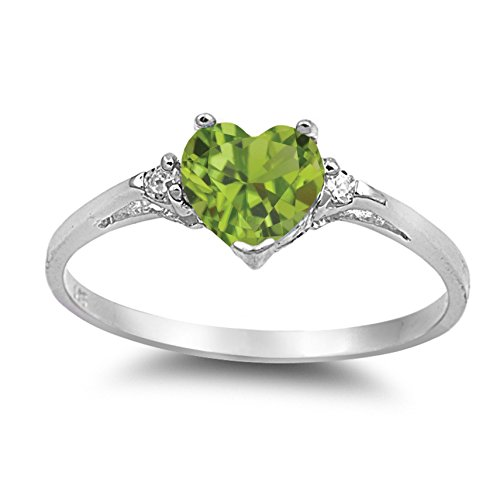 (925 Sterling Silver Faceted Natural Genuine Green Peridot Heart Promise Ring Size 9)