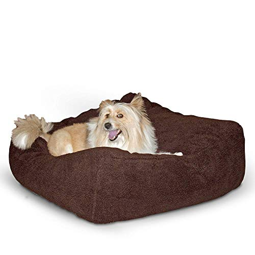 K&H Pet Products Cuddle Cube Pet Bed, Mocha, Medium/28″ x 28″