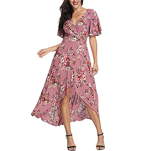 LISTHA Women Short Sleeve Long Maxi Dress V Neck Printed Mini Dresses Belt