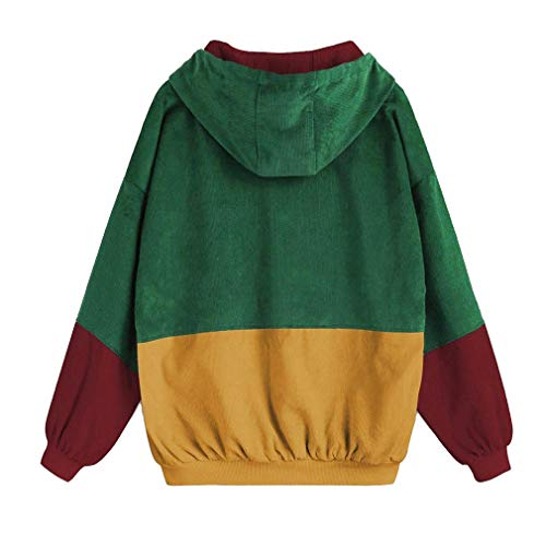 Overcoat vento Cappotto 5XL donna Giacca velluto a Blocking di oversize a Cappotto Verde Color juqilu S con per Giacca lunghe coste maniche Patchwork 1aHq01xw