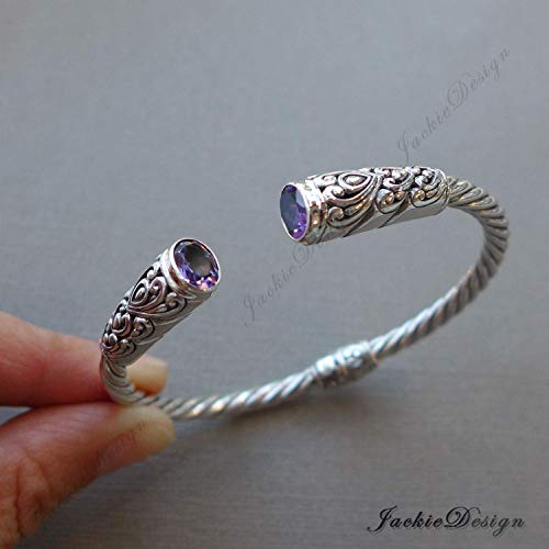 Purple Amethyst Cuff Bali Bangle Handmade 925 Sterling Silver Bracelet JD131