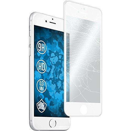 1 x Apple iPhone 6 Plus / 6s Plus Pellicola Protettiva Vetro Temperato chiaro full screen con telaio in silicone bianco - PhoneNatic Pellicole Protettive