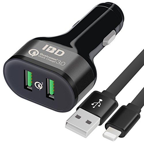 IBD Car Charger Dual USB 3.0 Phone Charger Using Qualcomm QC3.0 Quick Charge Chip + Lighting Cable For iPhone X, 8, 7/7 Plus,7,6S/6S Plus,6/6Plus,5S/5SE,5,iPad Pro, Compatible Smart charger Devices