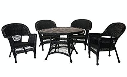 Delicieux Amazon.com: 5 Piece Black Resin Wicker Chair And Table Patio ...