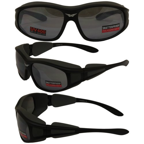 Torque Light and Wind Blocking Sunglasses Flash Mirrored Lenses, Rubberized Seals, Motorcycle Sports Eyewear Frame Color: Matte Black - Wind Sunglasses