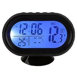 Docooler Multi-Function Digital 12V Car Voltage Alarm Temperature Thermometer Clock LCD Monitor Battery Meter Detector Display (Blue)