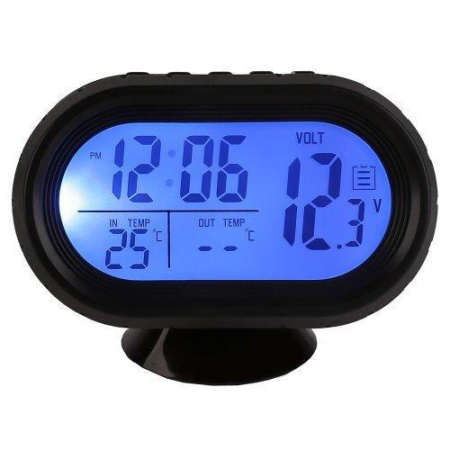 Docooler Multi-Function Digital 12V Car Voltage Alarm Temperature Thermometer Clock LCD Monitor Battery Meter Detector Display (Blue) by Docooler (Image #1)