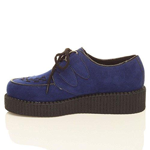 Ante plataforma mujer creepers número cuña Azul cordones Marino Plano botas punk gótico con EvOdcxHq