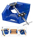Housolution Right Angle Clamp, Single Handle 90°Corner Clamp, Aluminum Alloy Right Angle Clip Clamp Tool Woodworking Photo Frame Vise Holder with Adjustable Swing Jaw - Blue