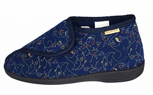 Damen Berühmt Dunlop BETSY Waschbar Tippen Sie Auf & Schließen Hausschuhe Blau