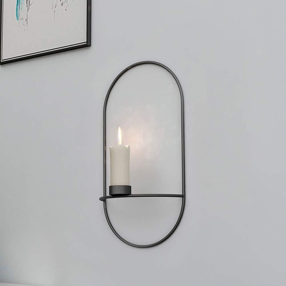 Wifehelper Bougeoir Simple en m/étal de Fer de Support de Bougie fix/é au Mur 3D g/éom/étrique pour la d/écoration /à la Maison Noir
