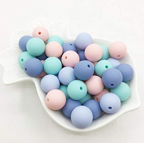 Calvas 15MM Aqua Silicone Beads Aqua Color Teething Beads 15mm Safe Food Grade Teething 10mm/12mm/15MM Round Silicone Bead 100pcs/lot - (Color: Candy Colors B, Item Diameter: 10mm)