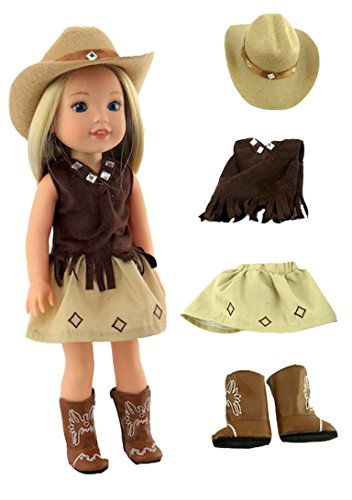 American Fashion World Brown Little Cowgirl with Hat and Boots-Fits 14 Inch Wellie Wisher Dolls | 14 Inch Doll Clothing -