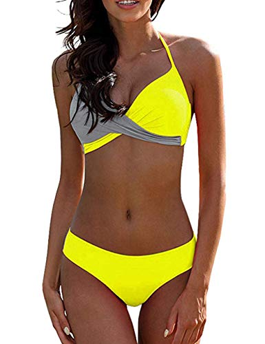 2 Piece Briefs - SEBOWEL Women Twist Halter 2 Piece Bikini Swimsuit Bathing Suit Yellow Grey S