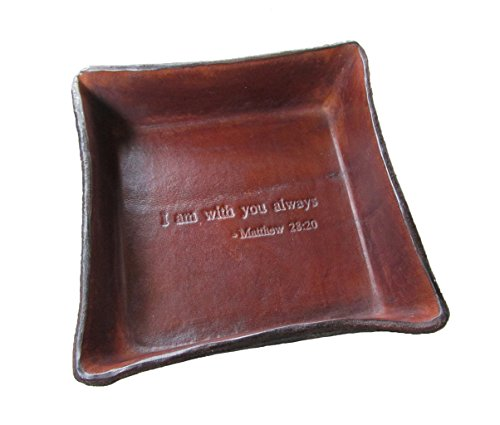 Twin Saints Religious Gift. Jesus Christ Bible Verse Leather Tray. I Am with You Always from Matthew 28:20. Great Gift for Confirmation, Communion, or Baptism. -