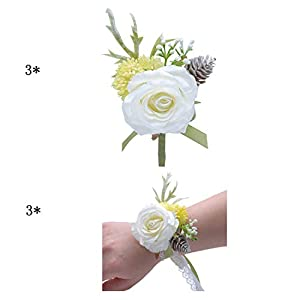 ChicChic 6 Pieces/lot Wedding Corsage for Bridesmaids Mother of The Bride Groom Boutonniere Handmade Artificial Rose Flower Brooch with Pin for Wedding Prom Party 26