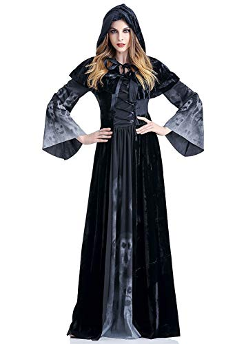Tutu Dreams Women Gothic Lace Up Death Vampire Hooded Cloak Costumes Plus Size -