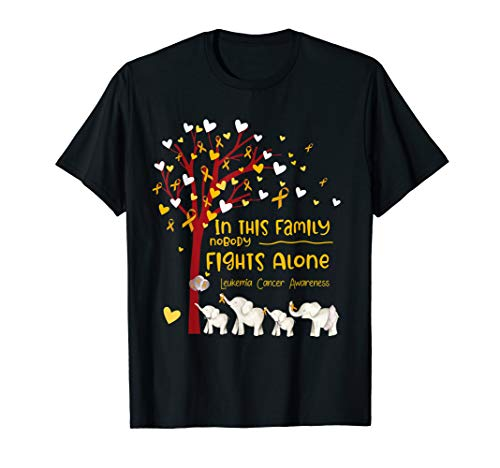 In This Family Nobody Fights Alone Leukemia Awareness Gifts T-Shirt