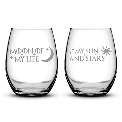 Premium Game of Thrones Wine Glasses, Set of 2, Moon of My Life, My Sun and Stars, Hand Etched 14.2oz Stemless Gifts, Made in USA, Sand Carved by Integrity Bottles