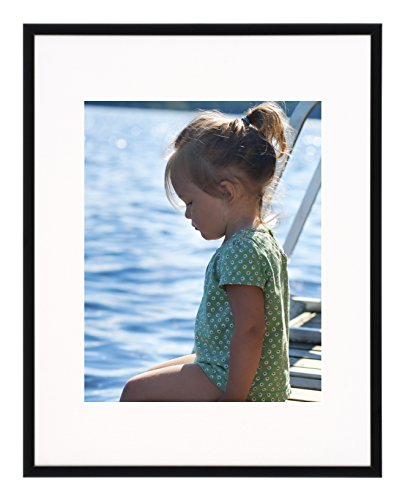 Artcare By Nielsen Bainbridge 11x14 Matte Black Archival Studio Collection Frame With White Mat For 8x10 Image #FA1321. Includes: UV Glazed Glass and Anti Aging - Glasses Frames Images