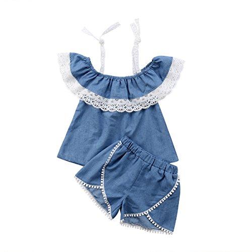 Toddler Little Girl Demin Off Shoulder Ruffle Pocket Romper Jumpsuit Clothes Set (Blue(lace), 5-6T)