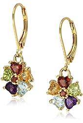 18k Yellow Gold Plated Sterling Silver Multi Gemstone Flower Lever Back Dangle Earrings