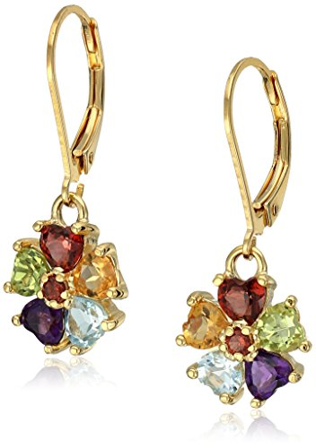 - 18k Yellow Gold Plated Sterling Silver Heart Shaped Genuine Multi Gemstone Flower Leverback Dangle Earrings