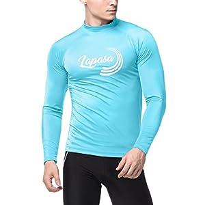 LAPASA Men's Rash Guard Long Sleeve Swimshirt, UPF50+ Solar Protection (98% Anti-UV, for Swimmers) M43