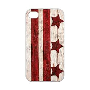 iPhone 4 4S Case Cover - Vintage Wood Washington D.C. Washington WA City State Flag iPhone 4 4S TPU (Laser Technology) Case Rubber Sides Shell