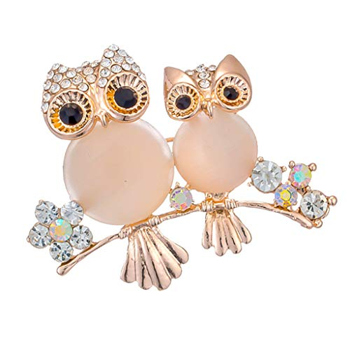 Owl Couple Family Animal Brooch Pin Party Dress Wedding Birthday Gift Brooch (Color - Gold) ()