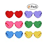 6 Pack Heart Shaped Rimless Sunglasses Transparent Candy Color Eyewear