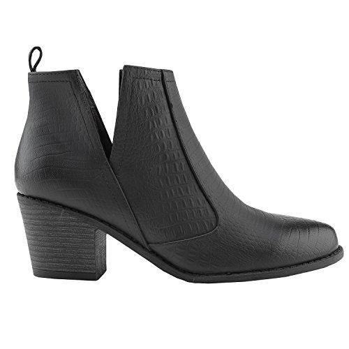 Fisace Chelsea Con Punta Cerrada Para Mujer Faux Apilable Low Heel Botín Occidental Black 01