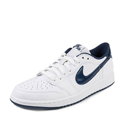 Nike Jordan Men's Air Jordan 1 Retro Low Og White/Midnight Navy Basketball Shoe 11.5 Men US (Air Jordan Low Shoes)