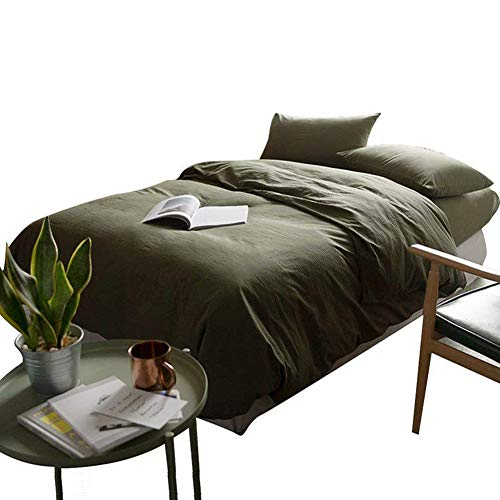 mixinni Solid Color Army Green 3 Pieces Duvet Cover Set 100% Natural Washed Cotton King Size 1 Duvet Cover 2 Pillowcases Hotel Quality Soft Breathable Easy Care with Zipper Ties