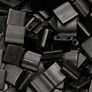 Matte Black 5mm Tila Beads 7.2 Gram Tube by Miyuki